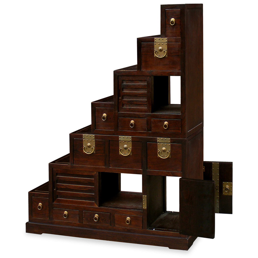 Dark Espresso Elmwood Japanese Step Tansu Chest