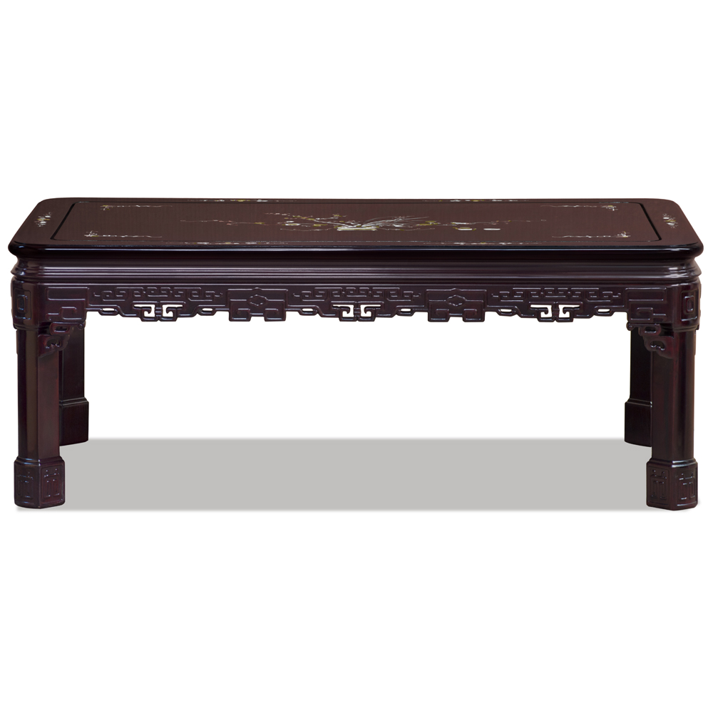 Dark Cherry Rosewood Key Design Rectangular Coffee Table with Mother of Pearl Inlay