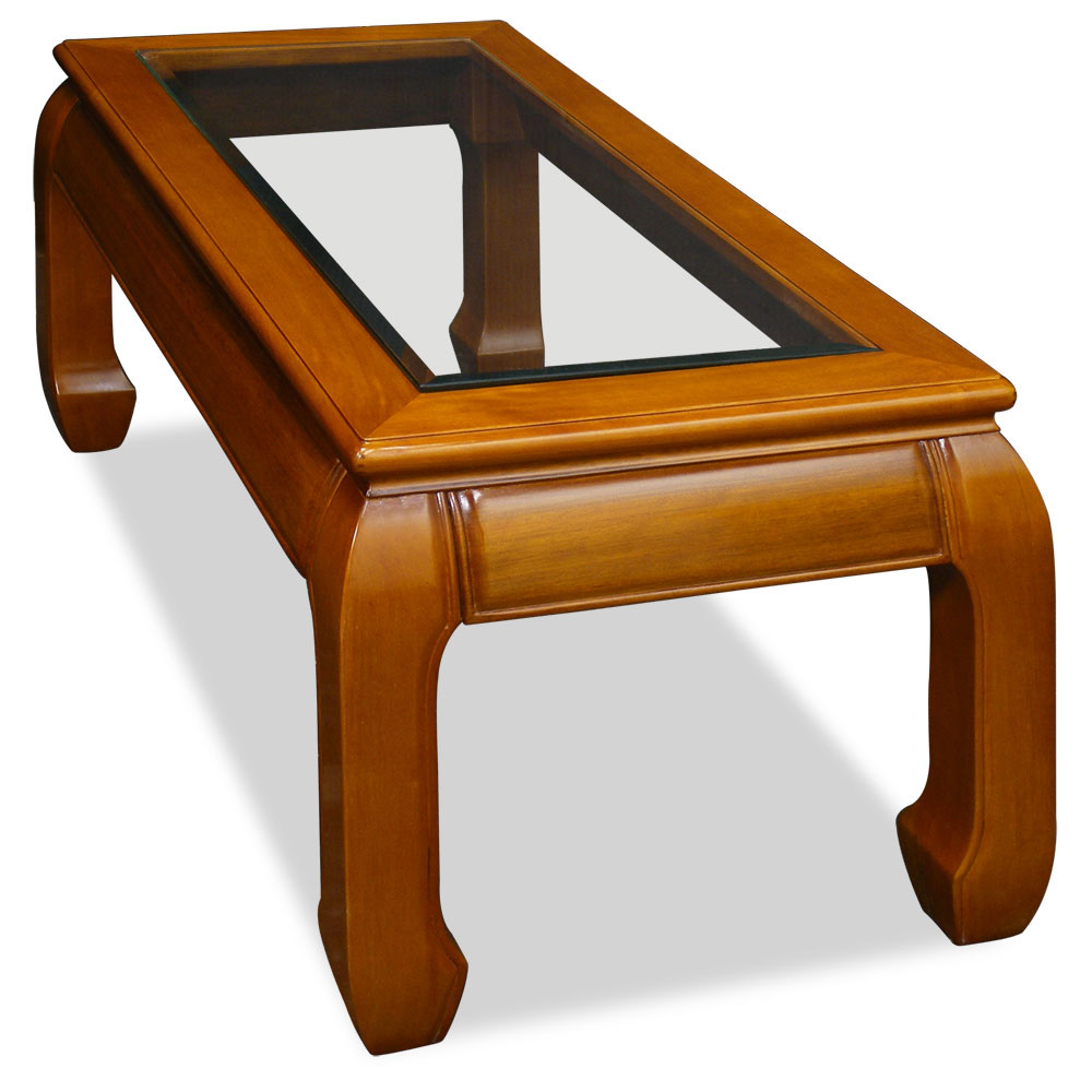 Natural Finish Rosewood Ming Rectangular Chinese Coffee Table
