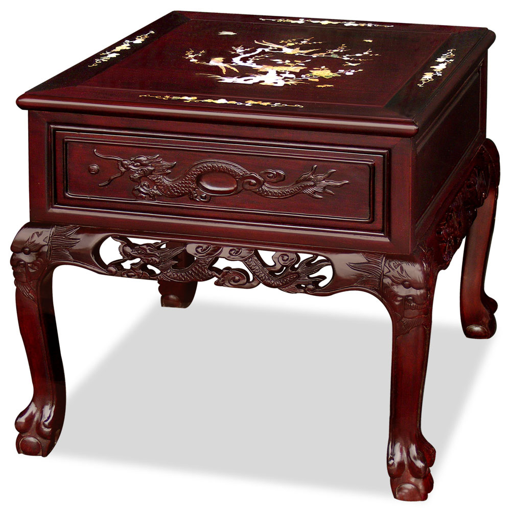 Rosewood Imperial Dragon Design Lamp Table