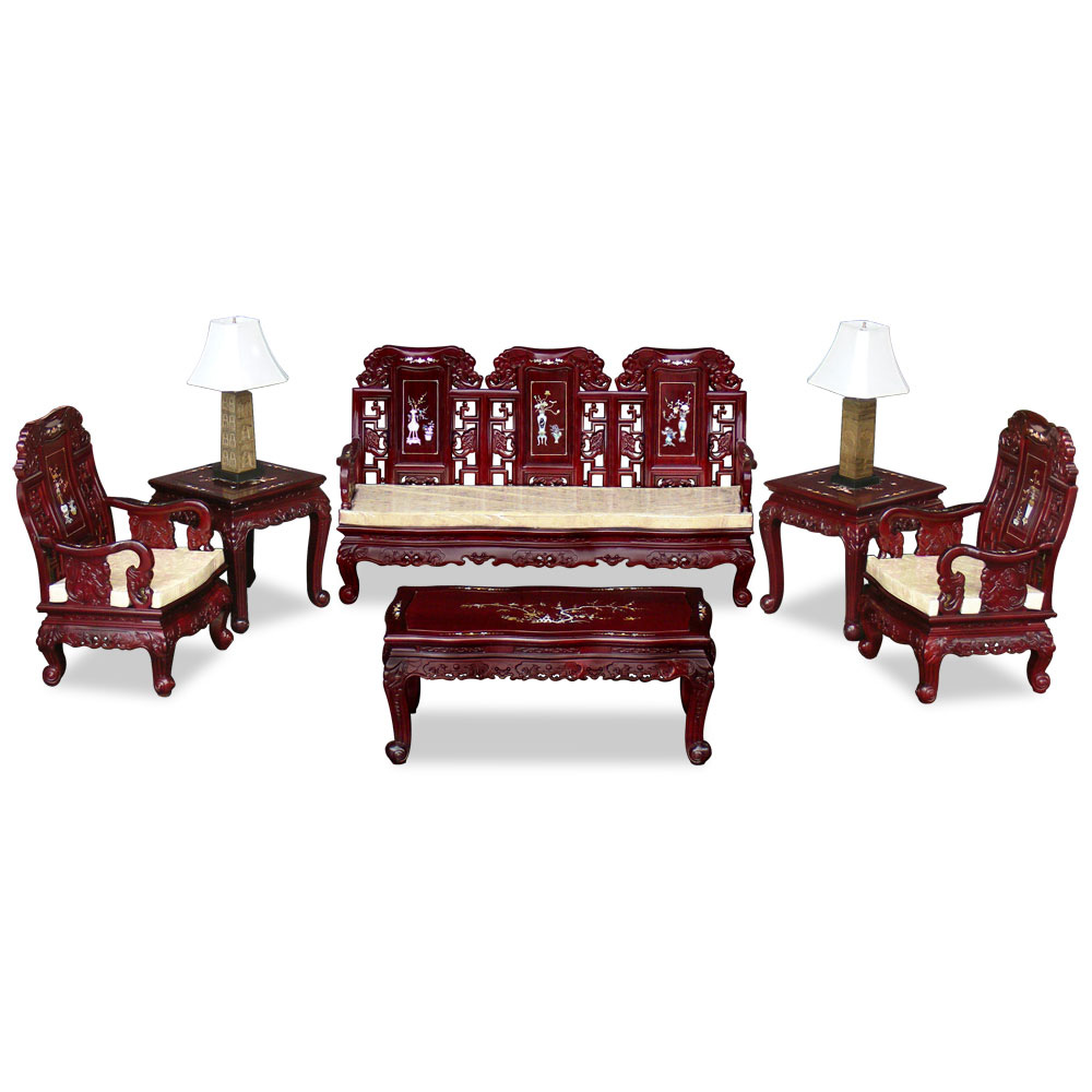 Dark Cherry Rosewood Mother of Pearl Inlay Imperial Elephant Living Room Set (6pcs)