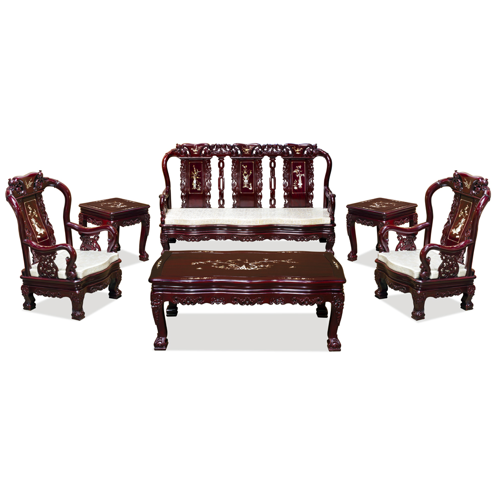 Rosewood Imperial Prosperity Design Sofa Set (6pcs)