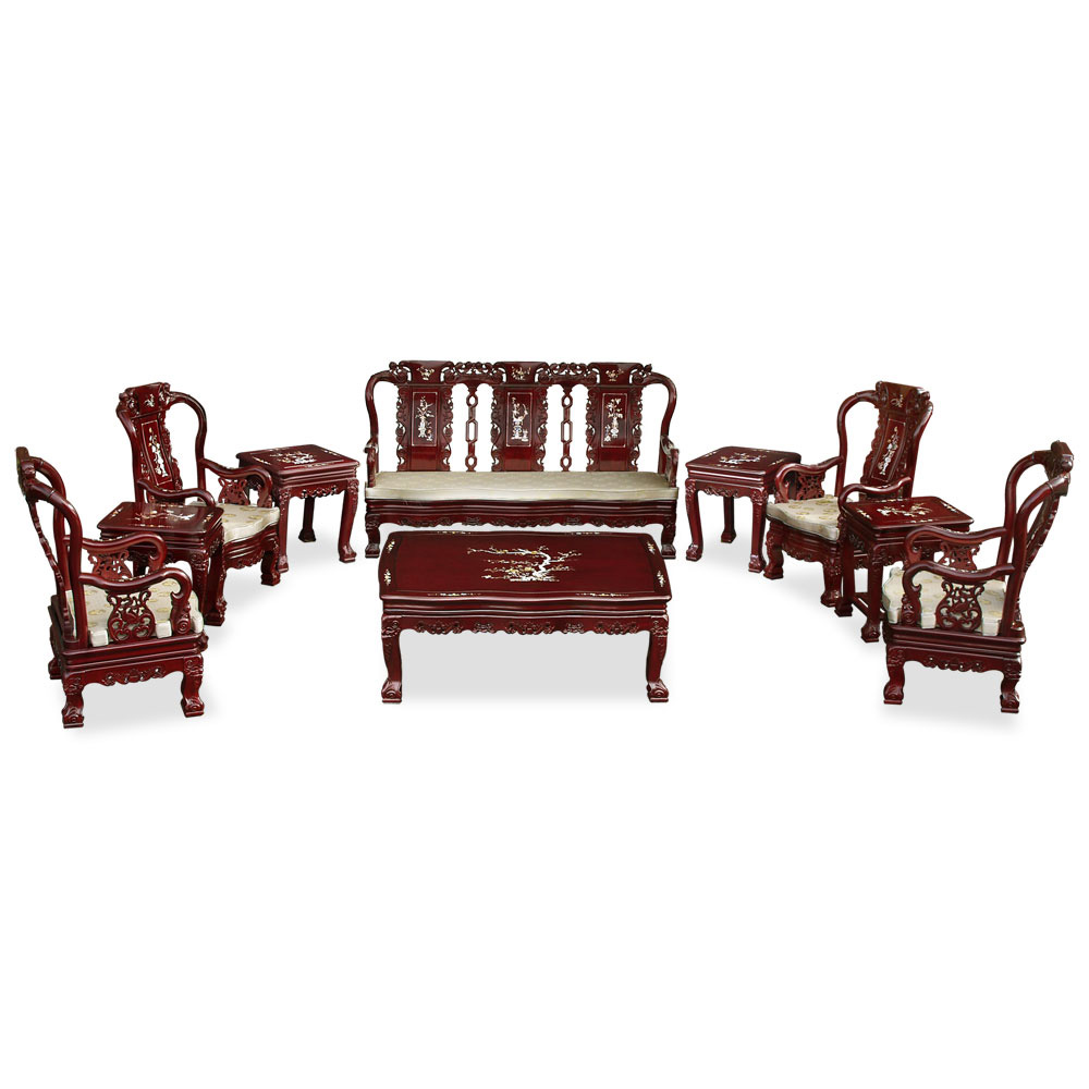 Dark Cherry Rosewood Mother of Pearl Inlay Imperial Court Living Room Set (10pcs)