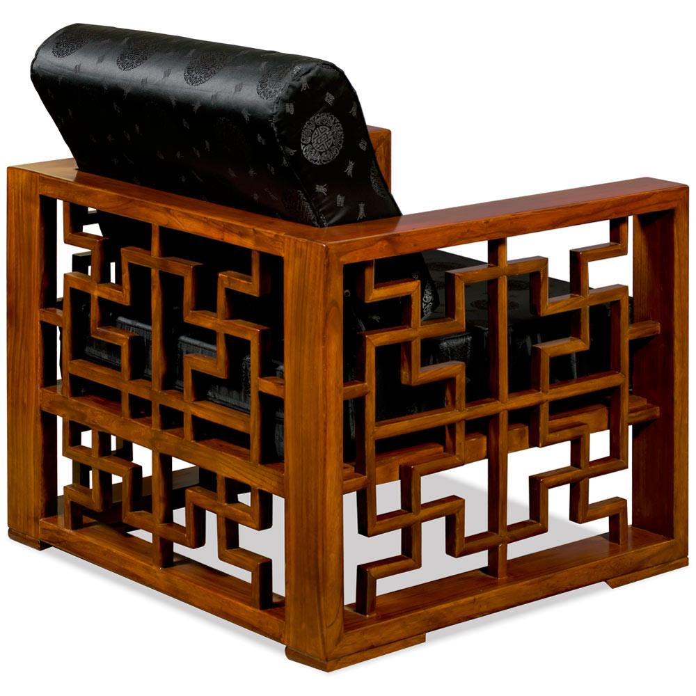 Mahogany Finish Elmwood Wang Zi Chinese Sofa Chair