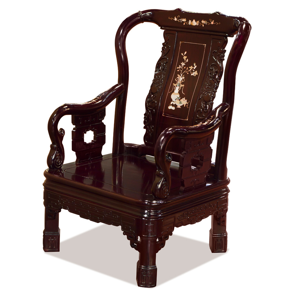 Dark Cherry Rosewood Grand Imperial Court Sofa Chair with Flower Mother of Pearl Inlay