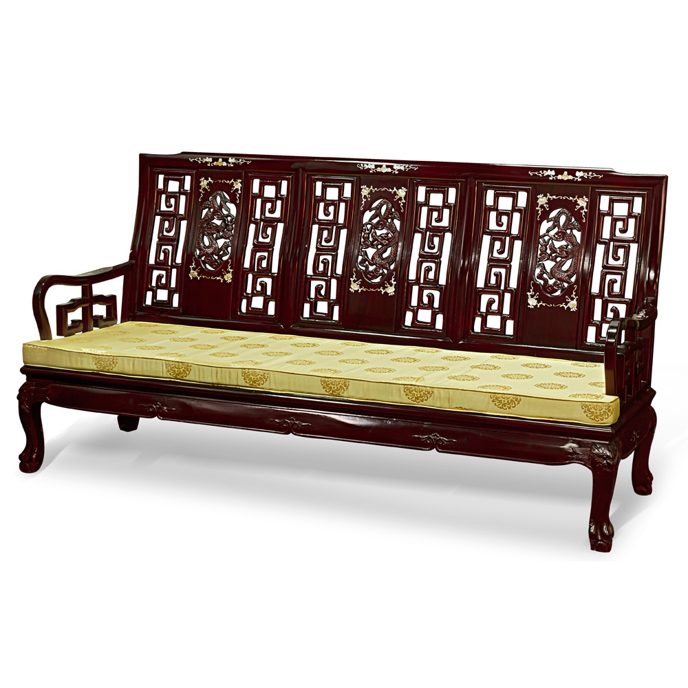 Rosewood imperial dragon design couch for South asian furniture
