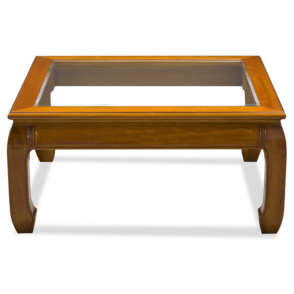 Square Coffee Table Styling: Rosewood Ming Style Square Coffee Table W/Glass