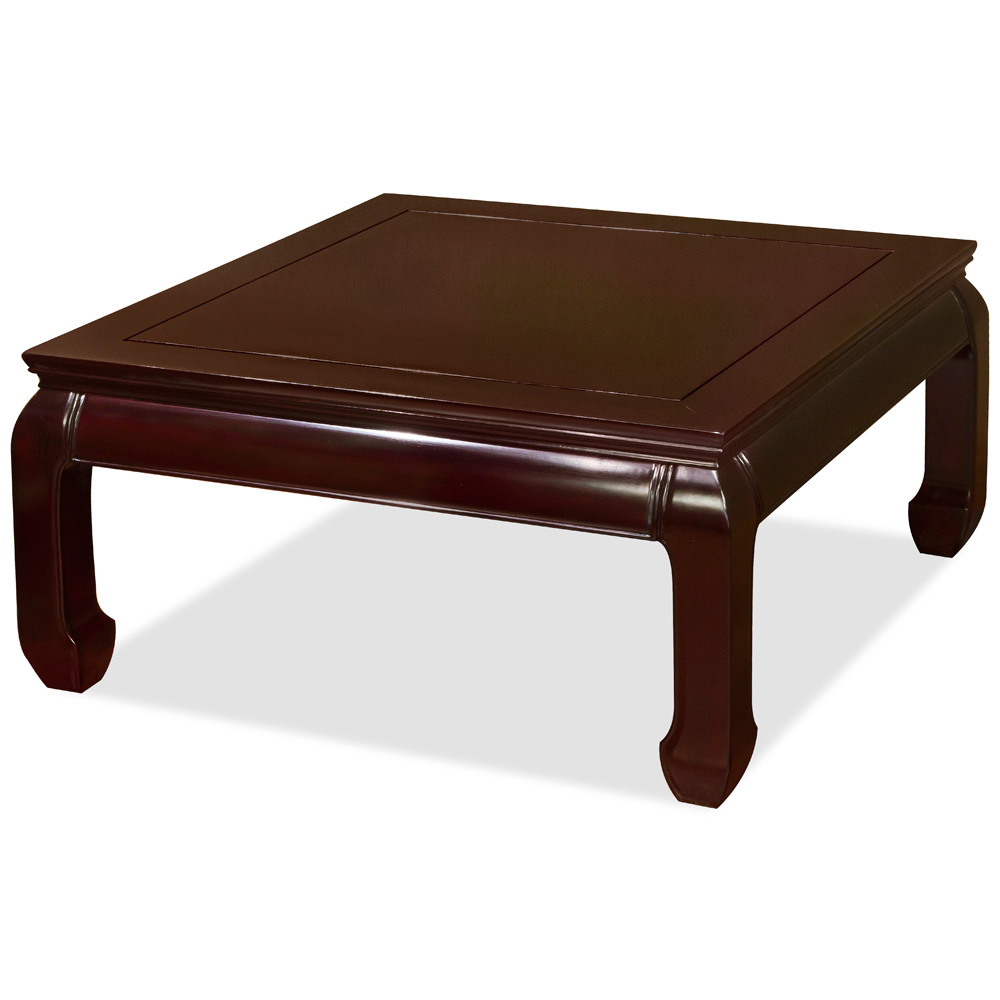 Dark Cherry Rosewood Ming Square Coffee Table