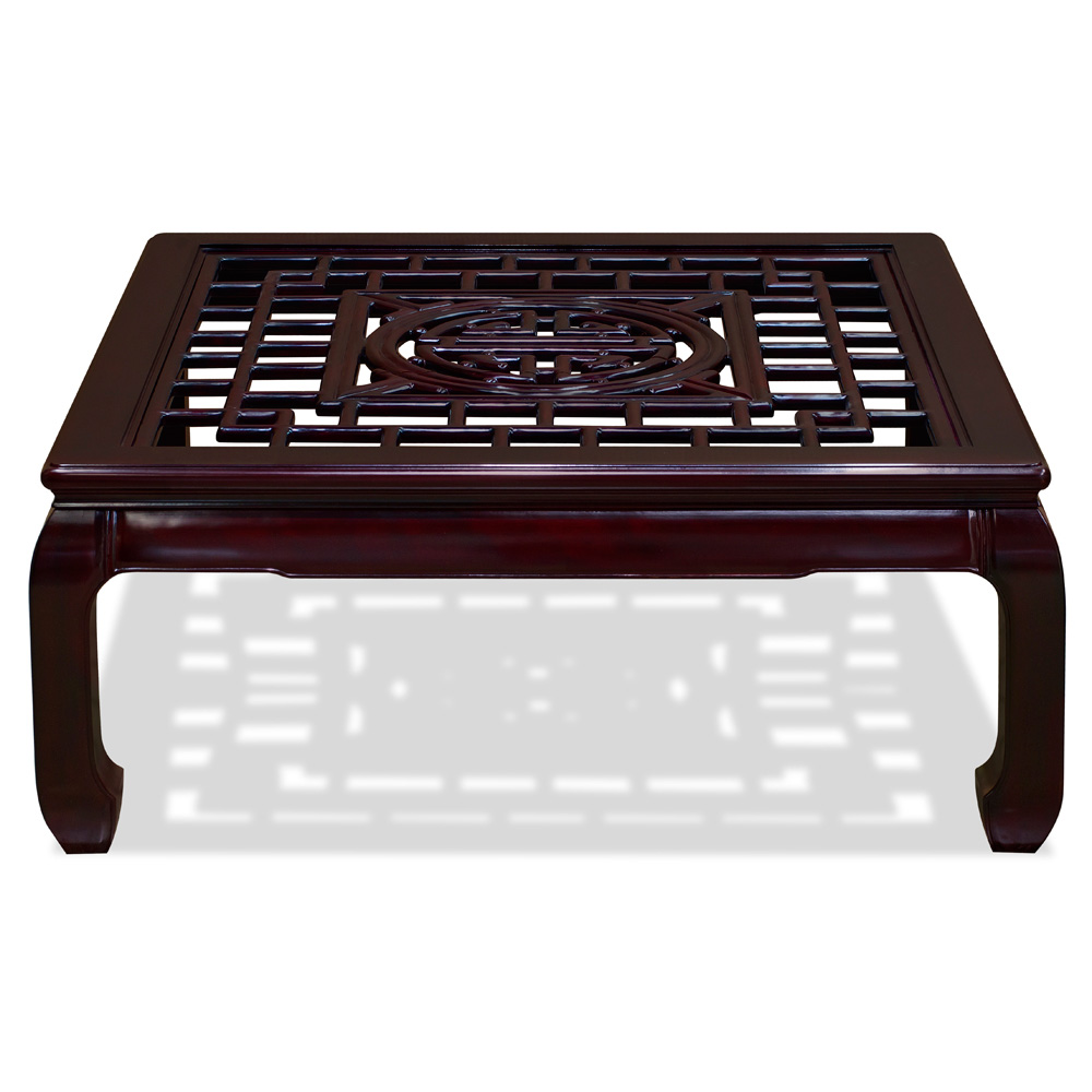 Dark Cherry Rosewood Chinese Longevity Square Coffee Table