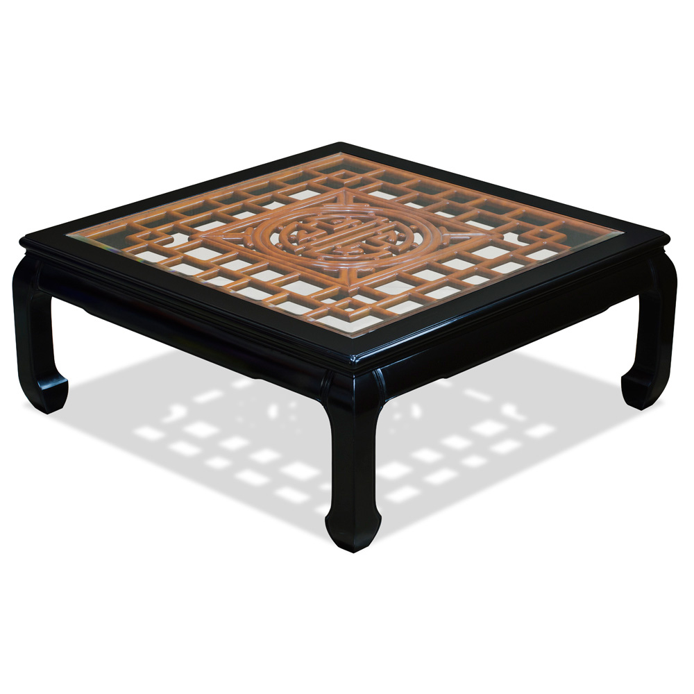 Black Rosewood Longevity Square Coffee Table with Natural Finish Accent