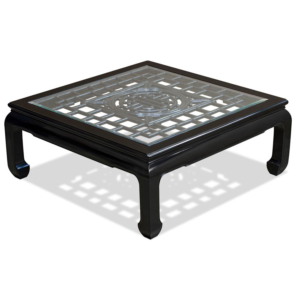 Black Rosewood Longevity Square Asian Coffee Table