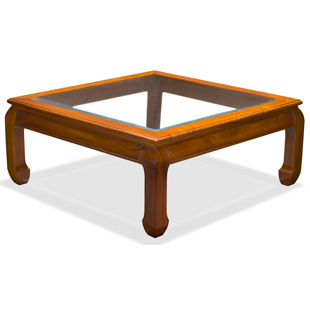 Rosewood Ming Style Square Coffee Table W/Glass