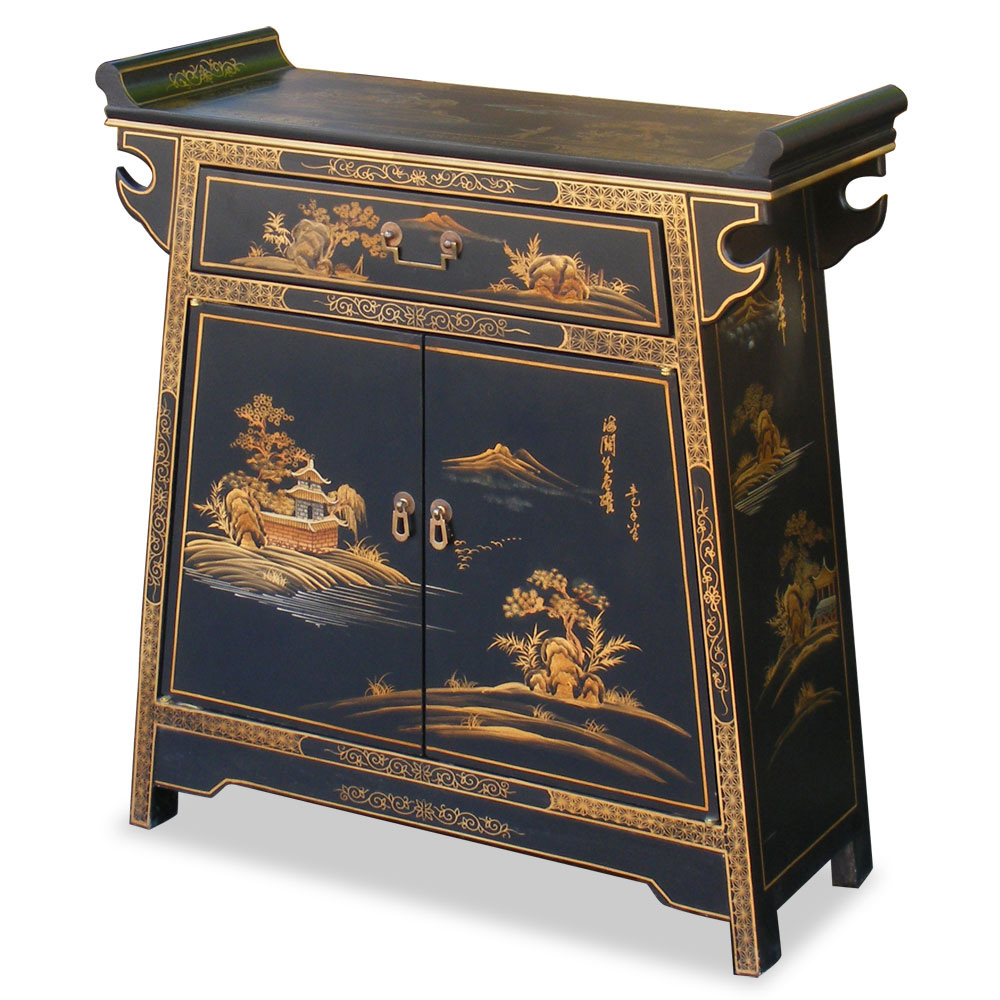 31in Chinoiserie Design Altar Style Cabinet