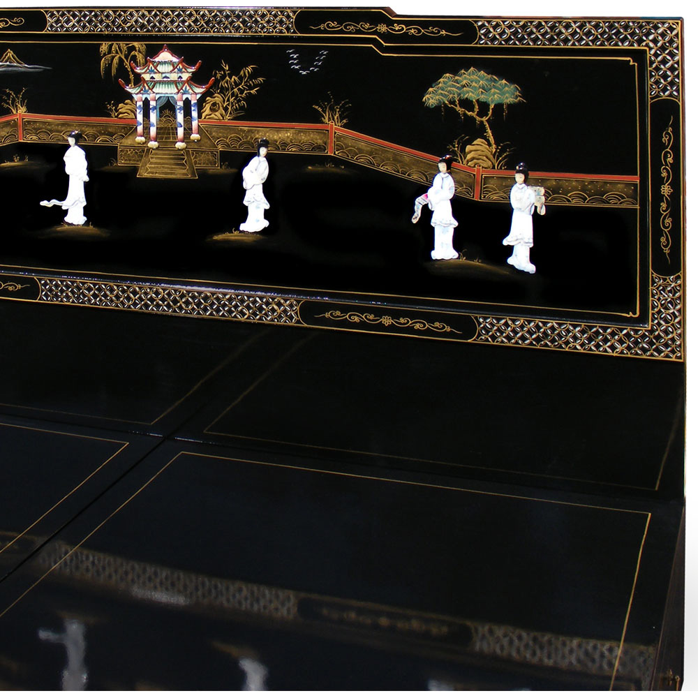 Black Lacquer King Size Mother of Pearl Platform Bed Mongolian Beauty Queen
