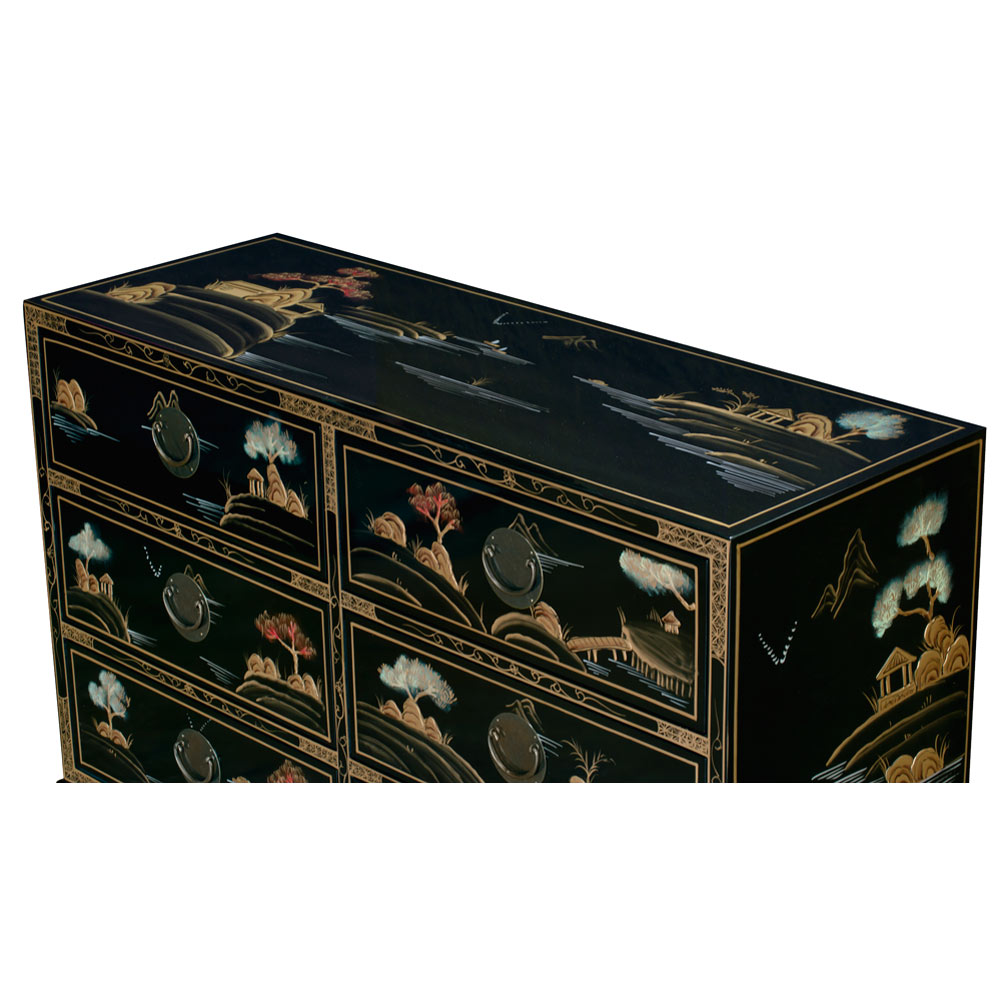 Chinoiserie Scenery Design Ming Chest of Drawers