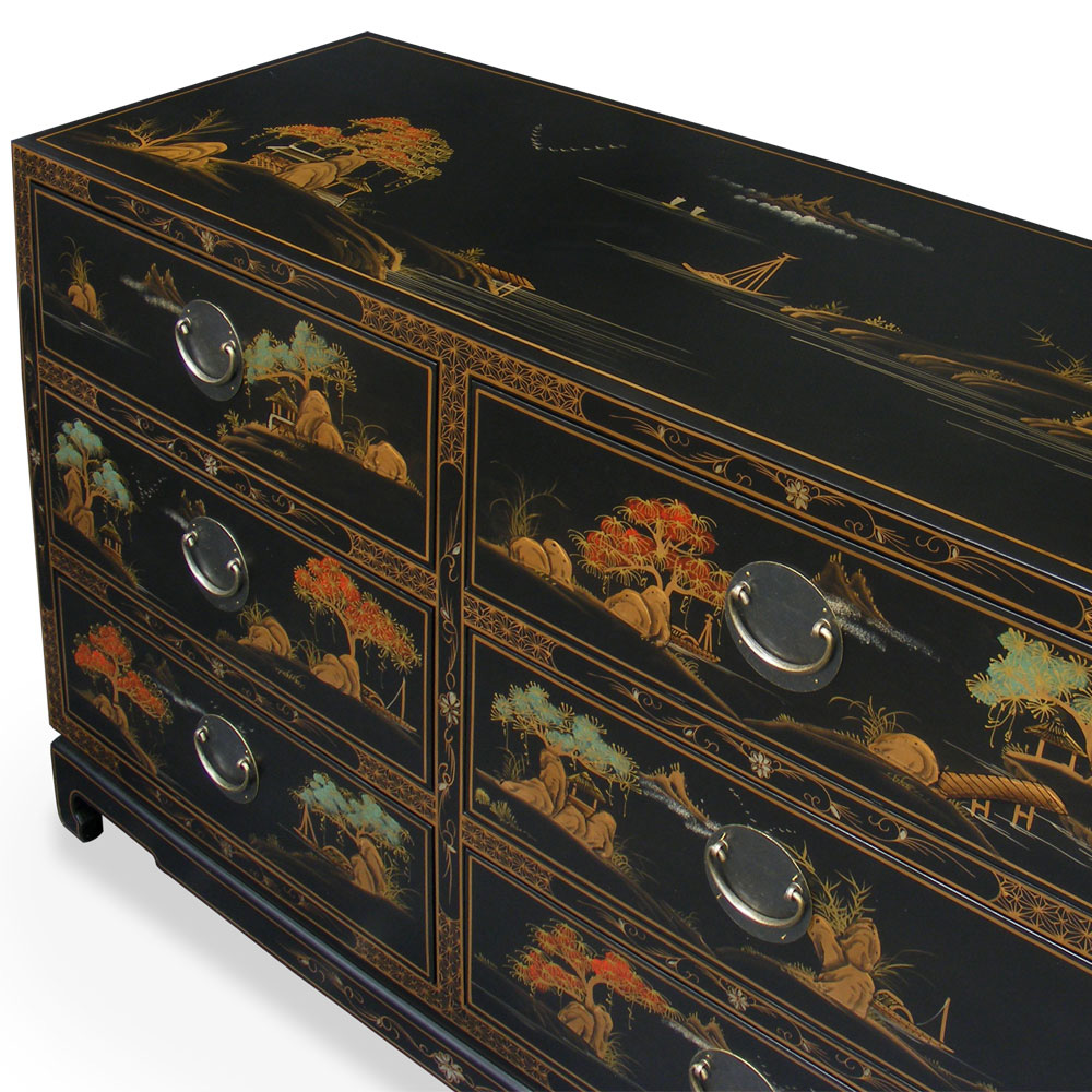 Chinoiserie scenery design chest of drawers for Chinoiserie design