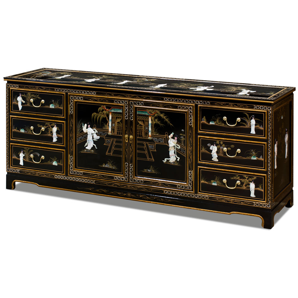 Black Lacquer Mother of Pearl Sideboard