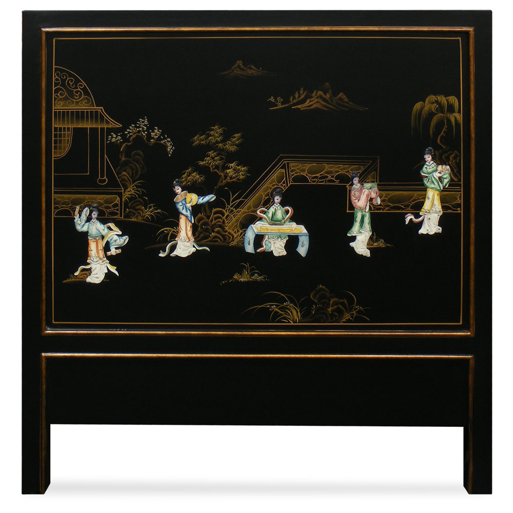 Hand-Painted Scenery with Chinese Maiden Design Twin Size Headboard