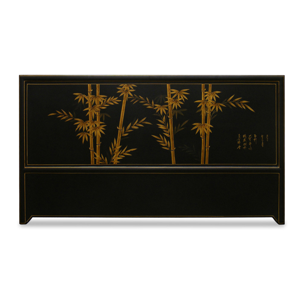 Hand Painted King Size Black Crackle Bamboo Headboard