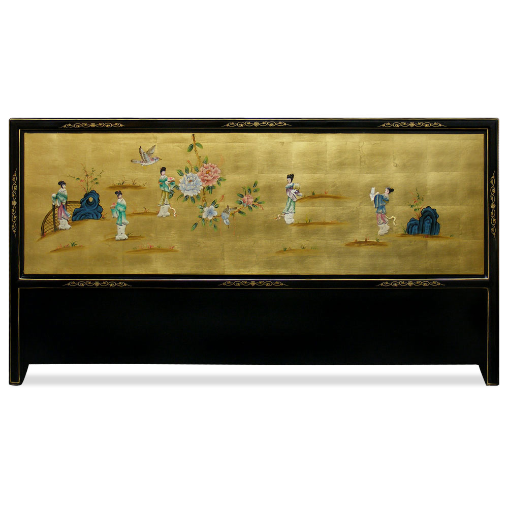 Gold Leaf with Soap Stone Figurine Motif  King Size Headboard
