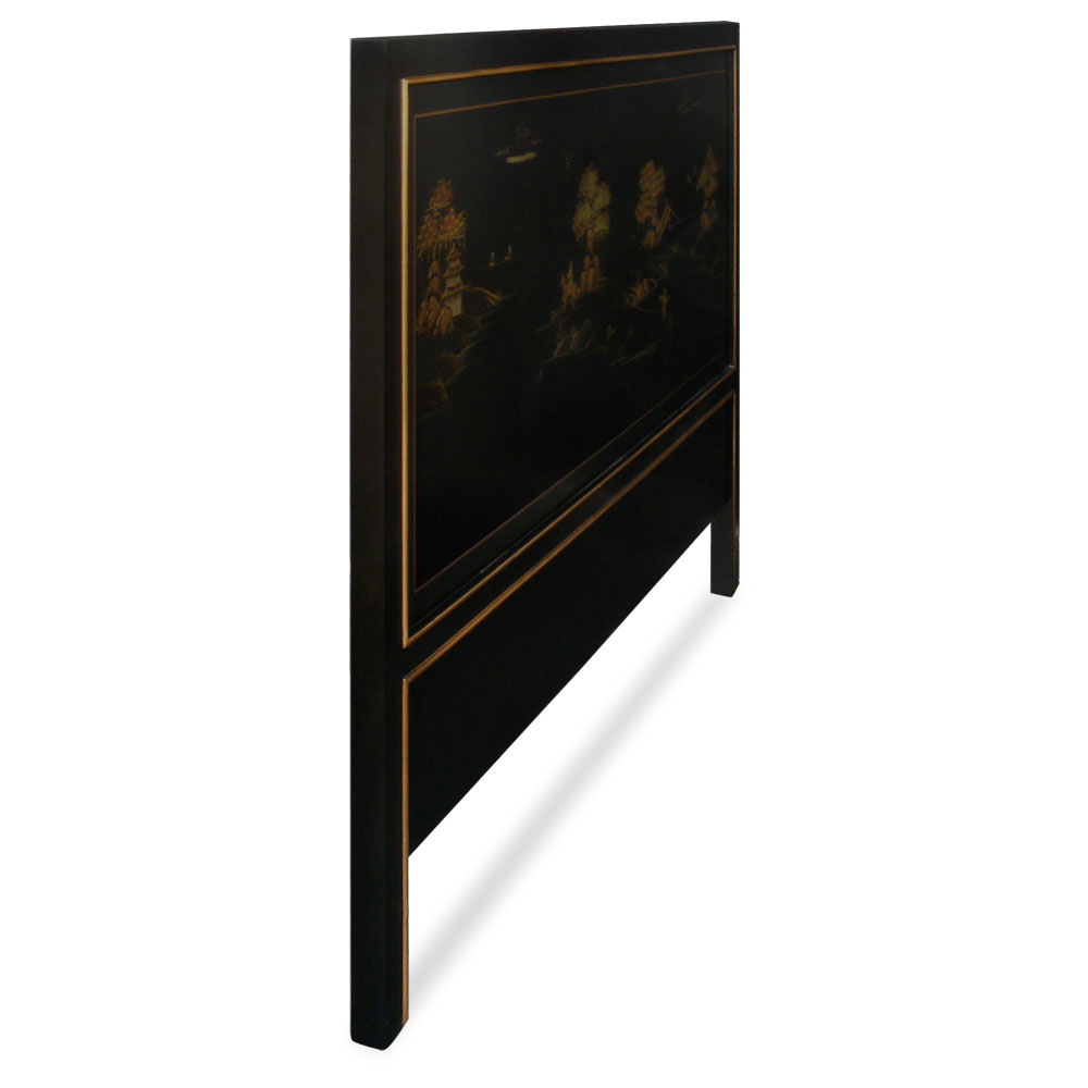 Hand-Painted Chinoiserie Scenery King Size Headboard