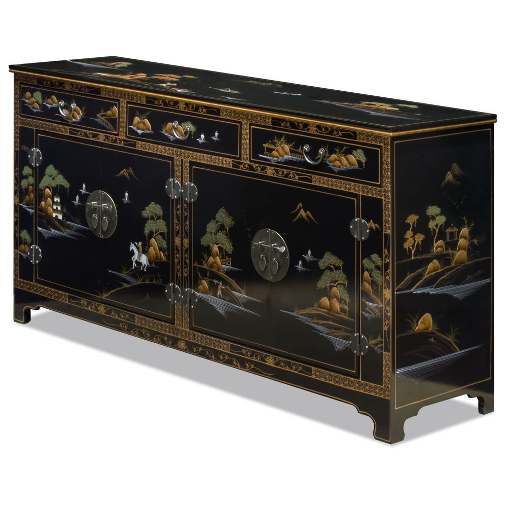 Black Lacquer Chinoiserie Scenery Motif Oriental Sideboard