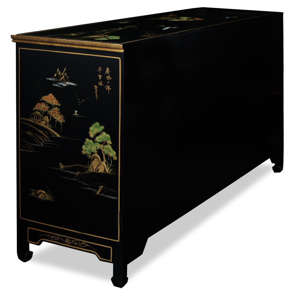 Chinoiserie Scenery Black Lacquer Sideboard