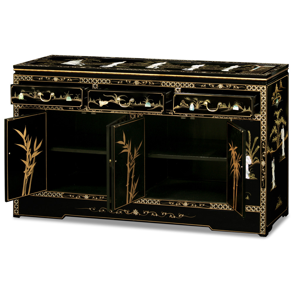 60in Black Lacquer Mother of Pearl Motif Sideboard
