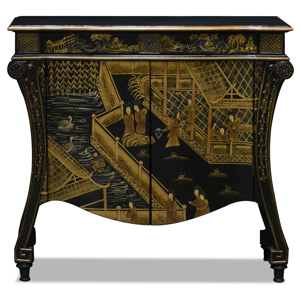 Black Crackle Chinoiserie Courtyard Commode