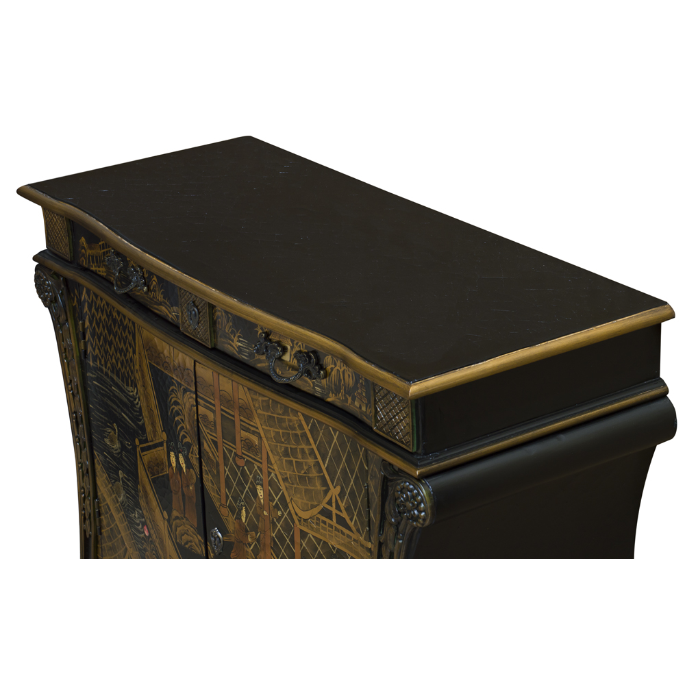 Black Crackle Chinoiserie Courtyard  Motif French Commode