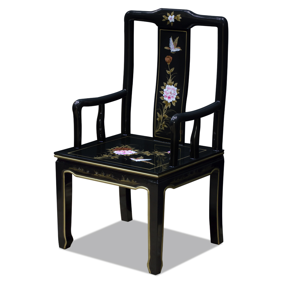 Black Lacquer Bird and Peony Motif Oriental Arm Chair
