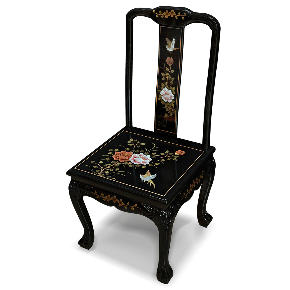 Hand Painted Black Lacquer Chinese Peony Design Chair