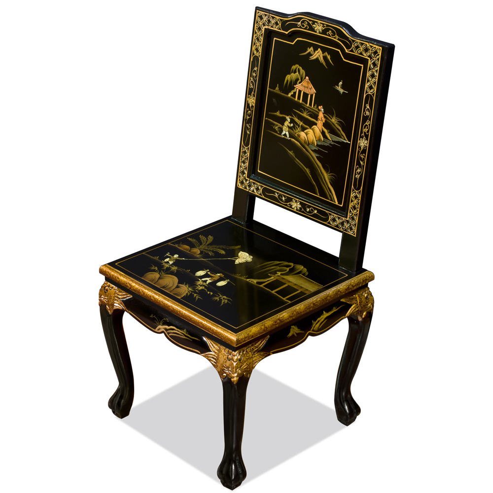 Black Queen Anne Chinoiserie Scenery Motif Oriental Accent Chair