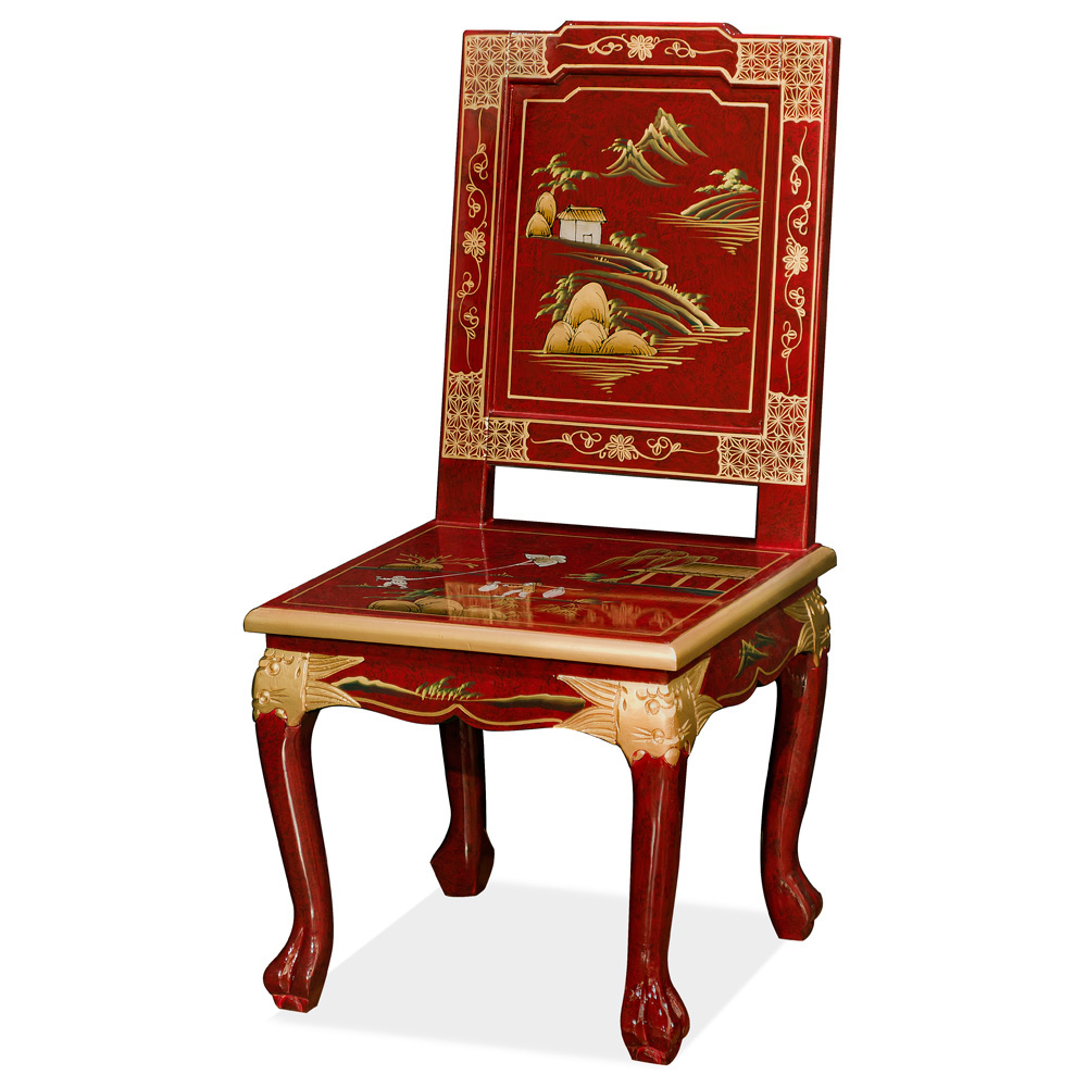 Red Queen Anne Chinoiserie Scenery Motif Accent Chair
