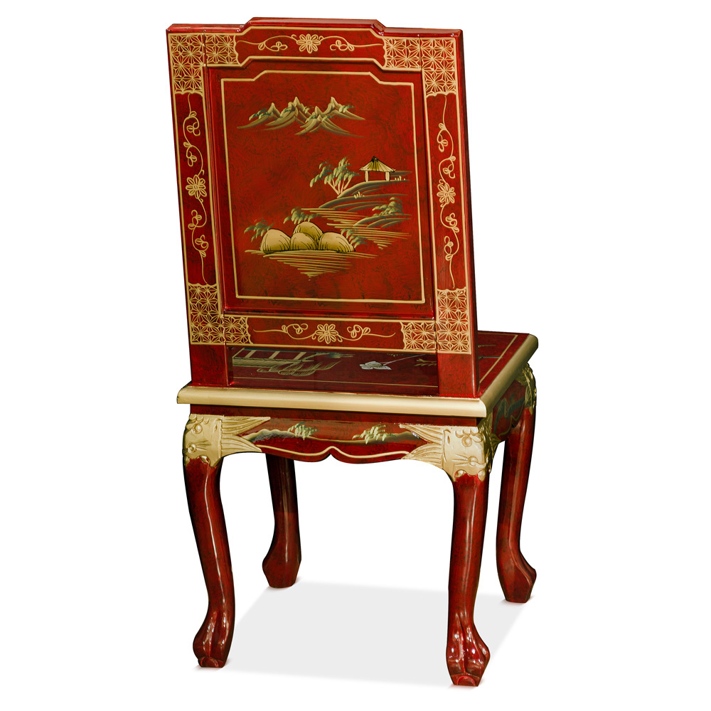 Hand Painted Chinoiserie Scenery Design Chair