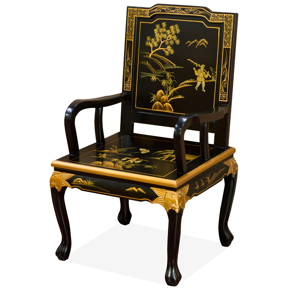 Hand Painted Scenery Design Tiger Claw Arm Chair