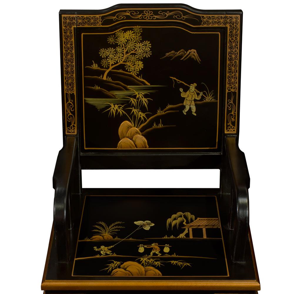 Black Queen Anne Chinoiserie Scenery Motif Oriental Arm Chair