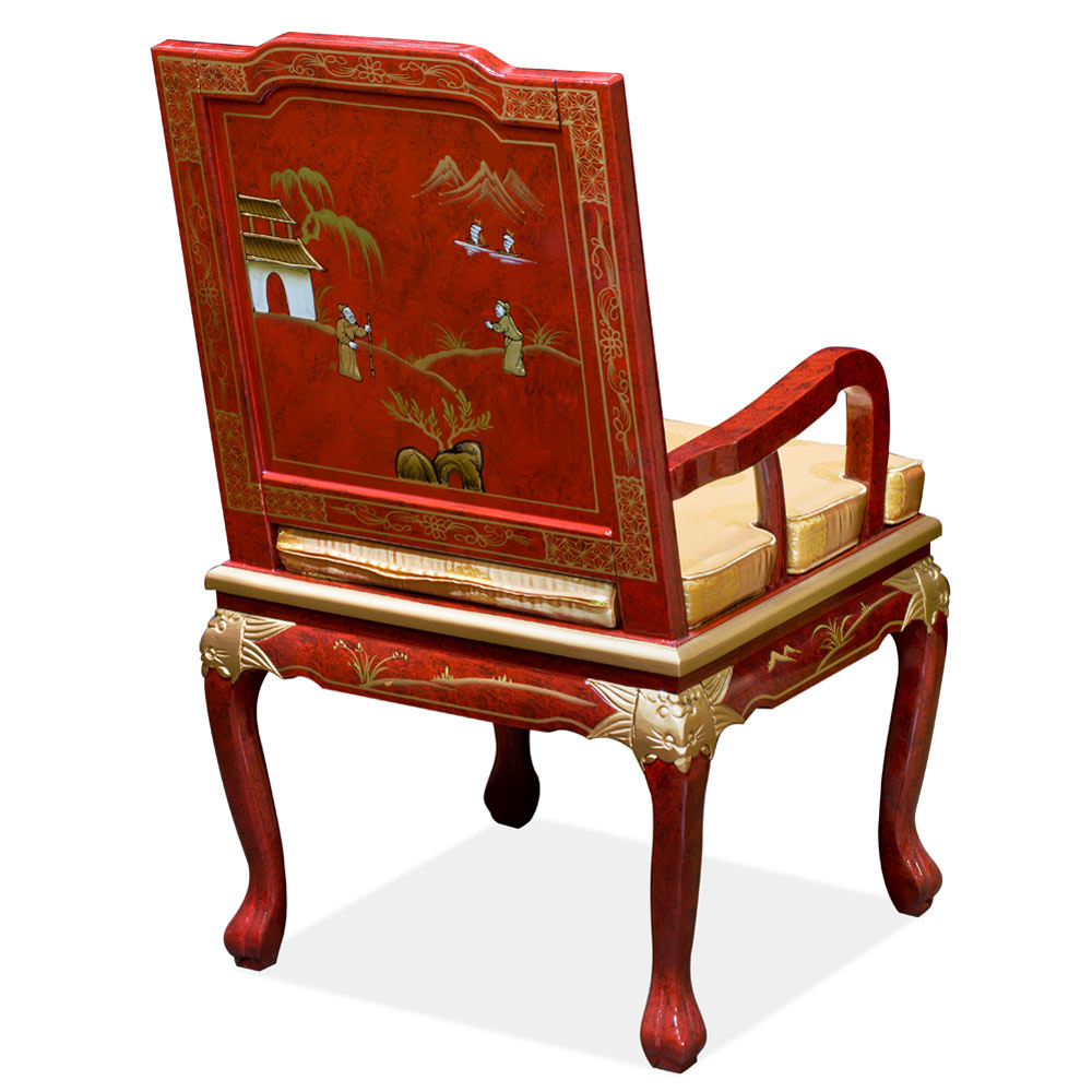 Red Queen Anne Chinoiserie Scenery Motif Arm Chair