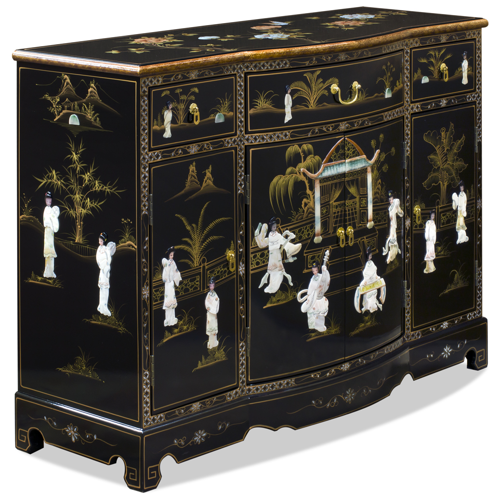 Black Lacquer Mother of Pearl Oriental Accent Cabinet
