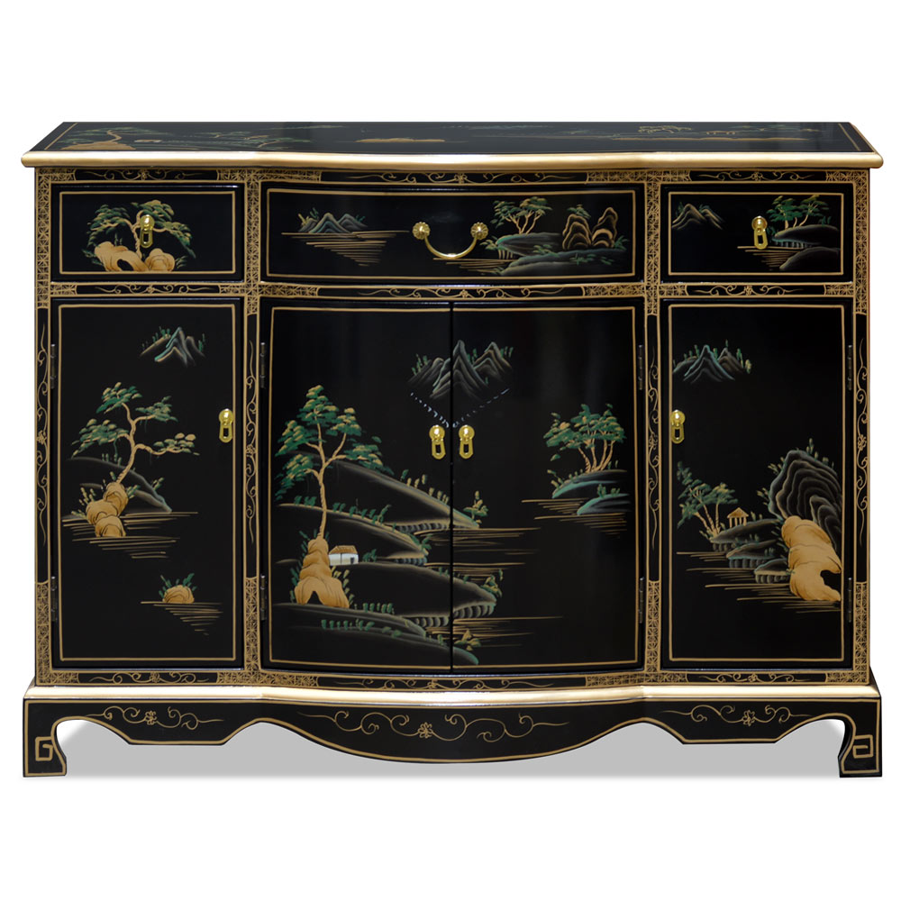 Black Lacquer Chinoiserie Scenery Hall Cabinet