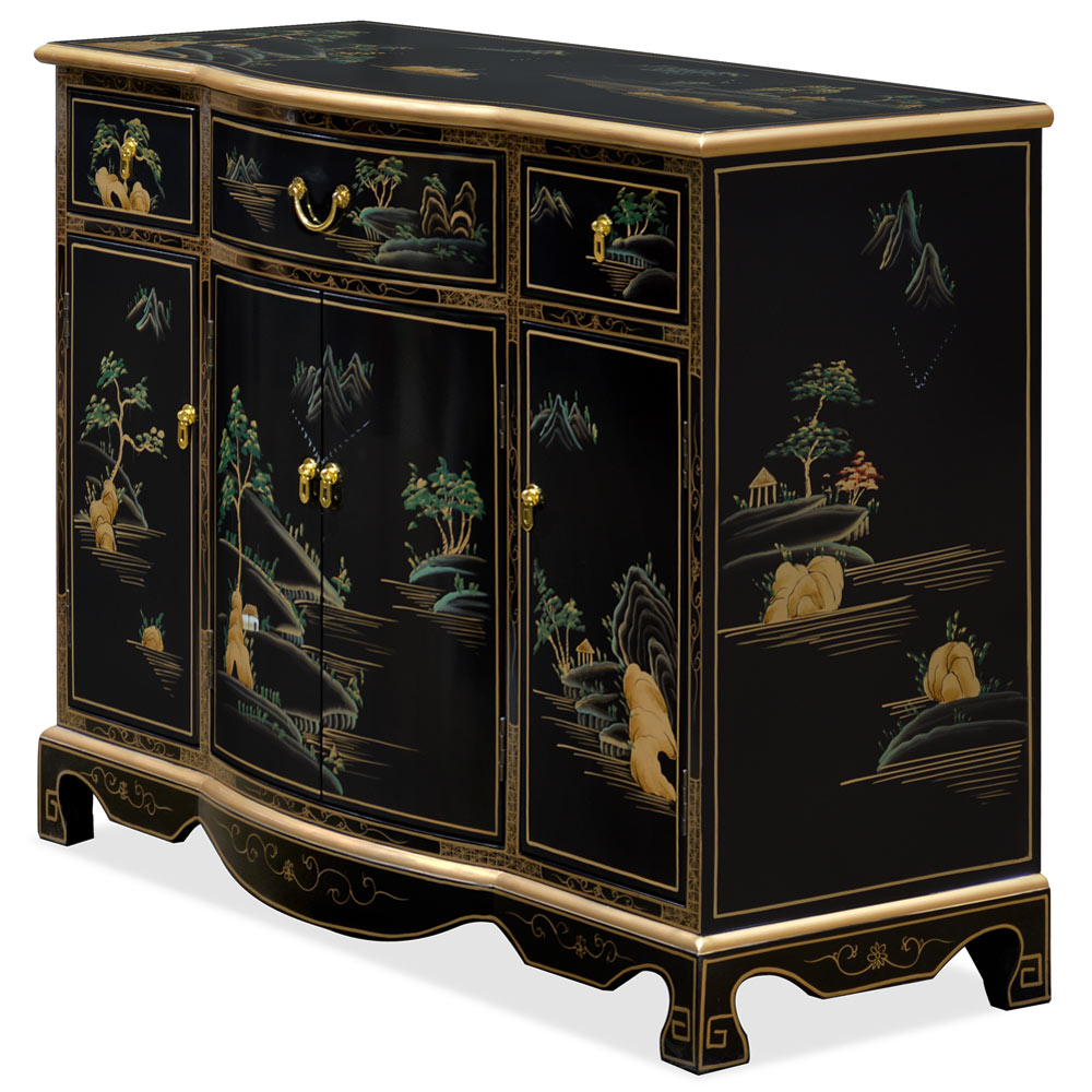Black Lacquer Chinoiserie Scenery Motif Oriental Hall Cabinet