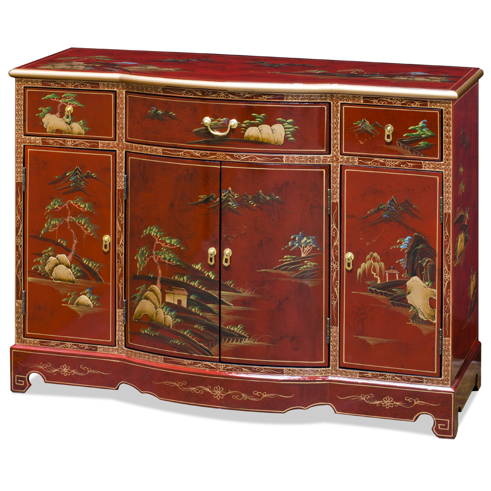 Red Lacquer Chinoiserie Scenery Hall Cabinet