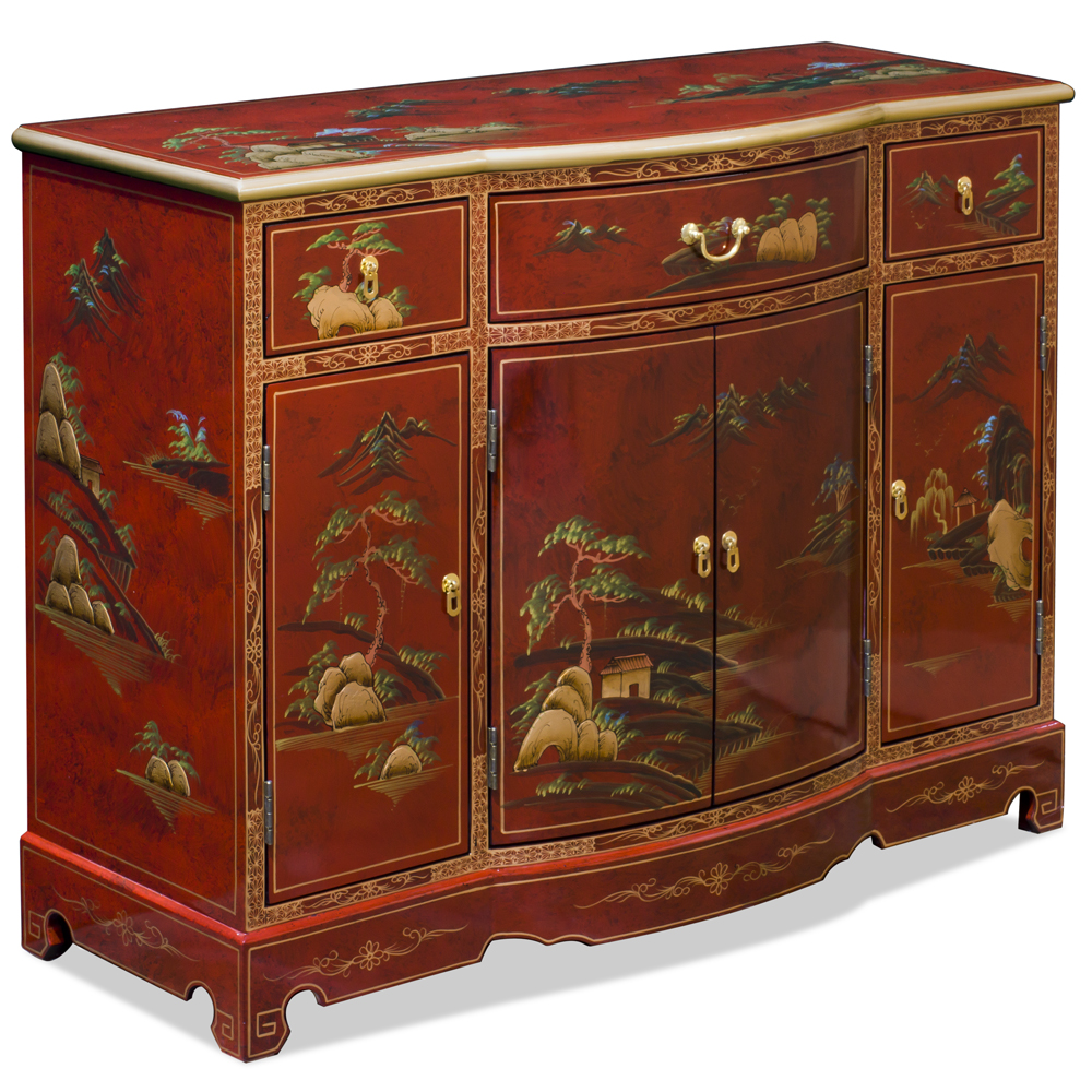 Red Lacquer Chinoiserie Scenery Motif Oriental Hall Cabinet