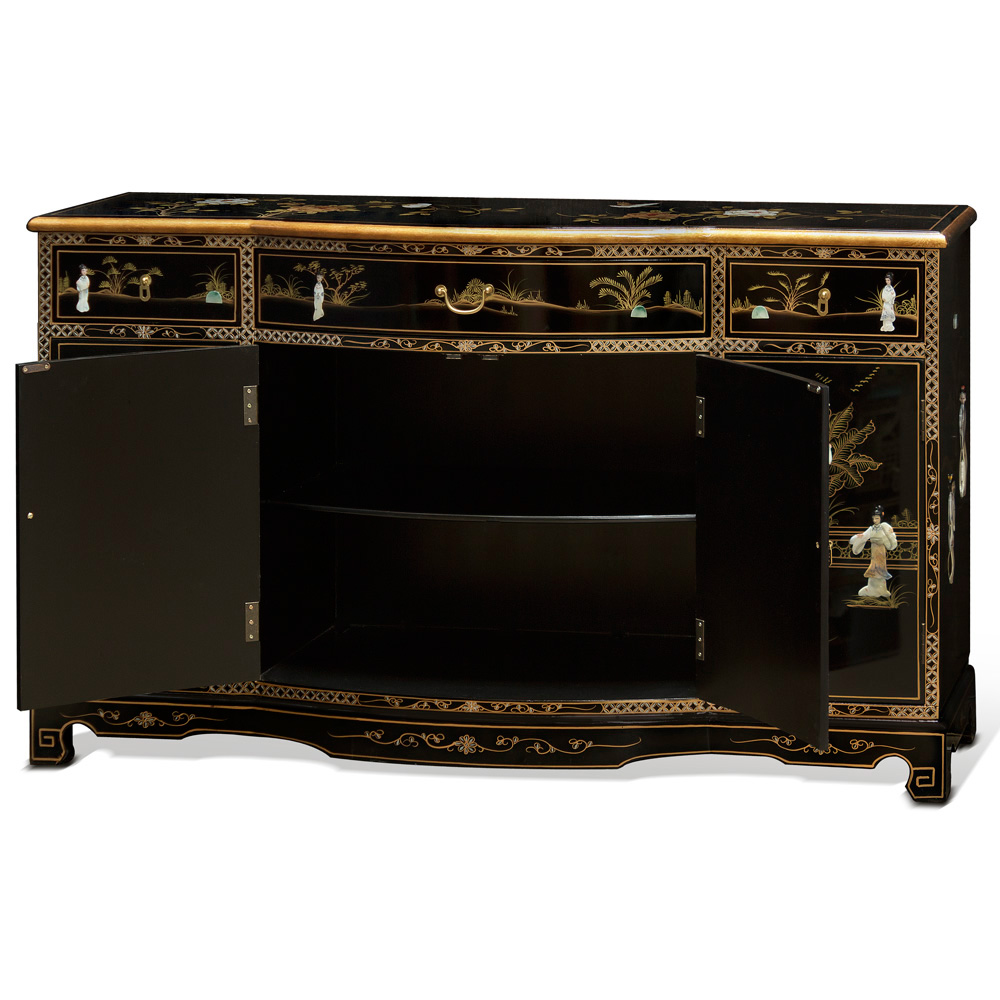 Black Lacquer Mother of Pearl Oriental Sideboard