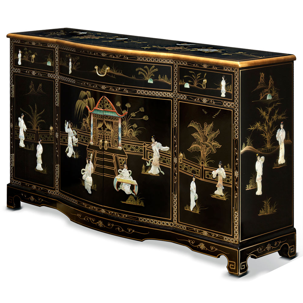black lacquer sideboard with pearl motif. Black Bedroom Furniture Sets. Home Design Ideas