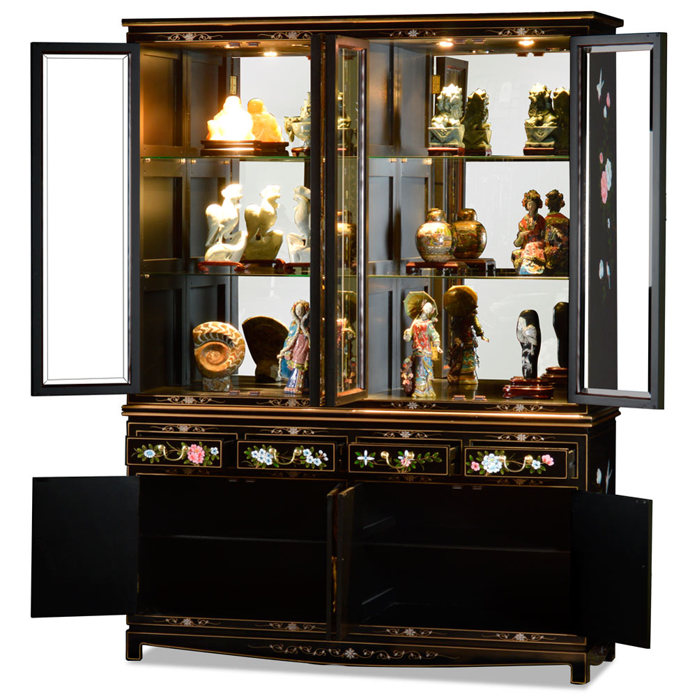 60in Black Lacquer Pearl Figure Motif China Cabinet