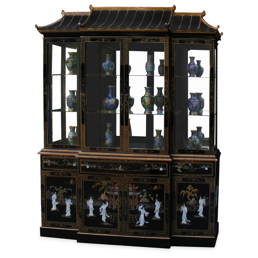 Black lacquer pagoda china cabinet for Chinese furnishings