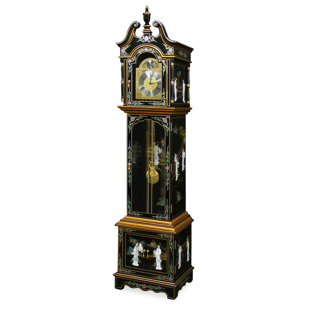 Black Lacquer Mother of Pearl Grandfather Clock : MCKMBG WG from www.chinafurnitureonline.com size 1000 x 1000 jpeg 95kB