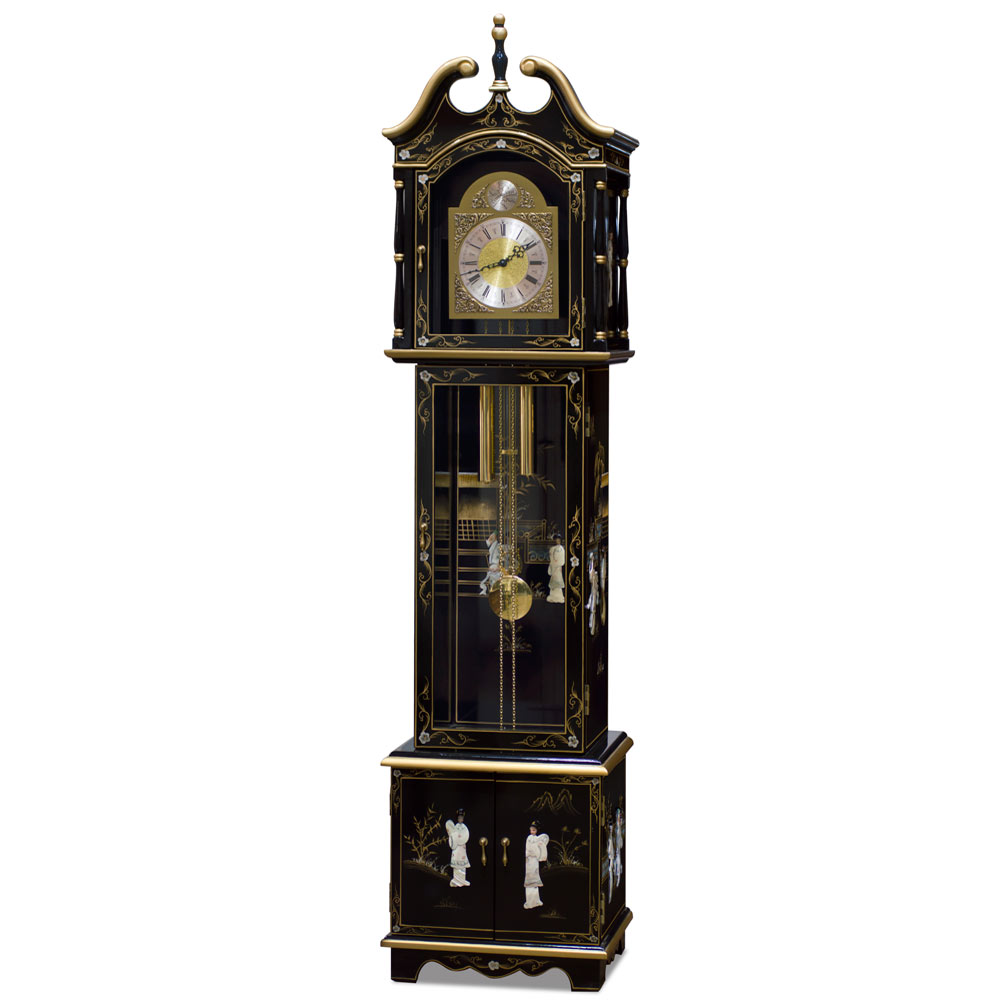 Black Lacquer Mother Of Pearl Grandfather Clock