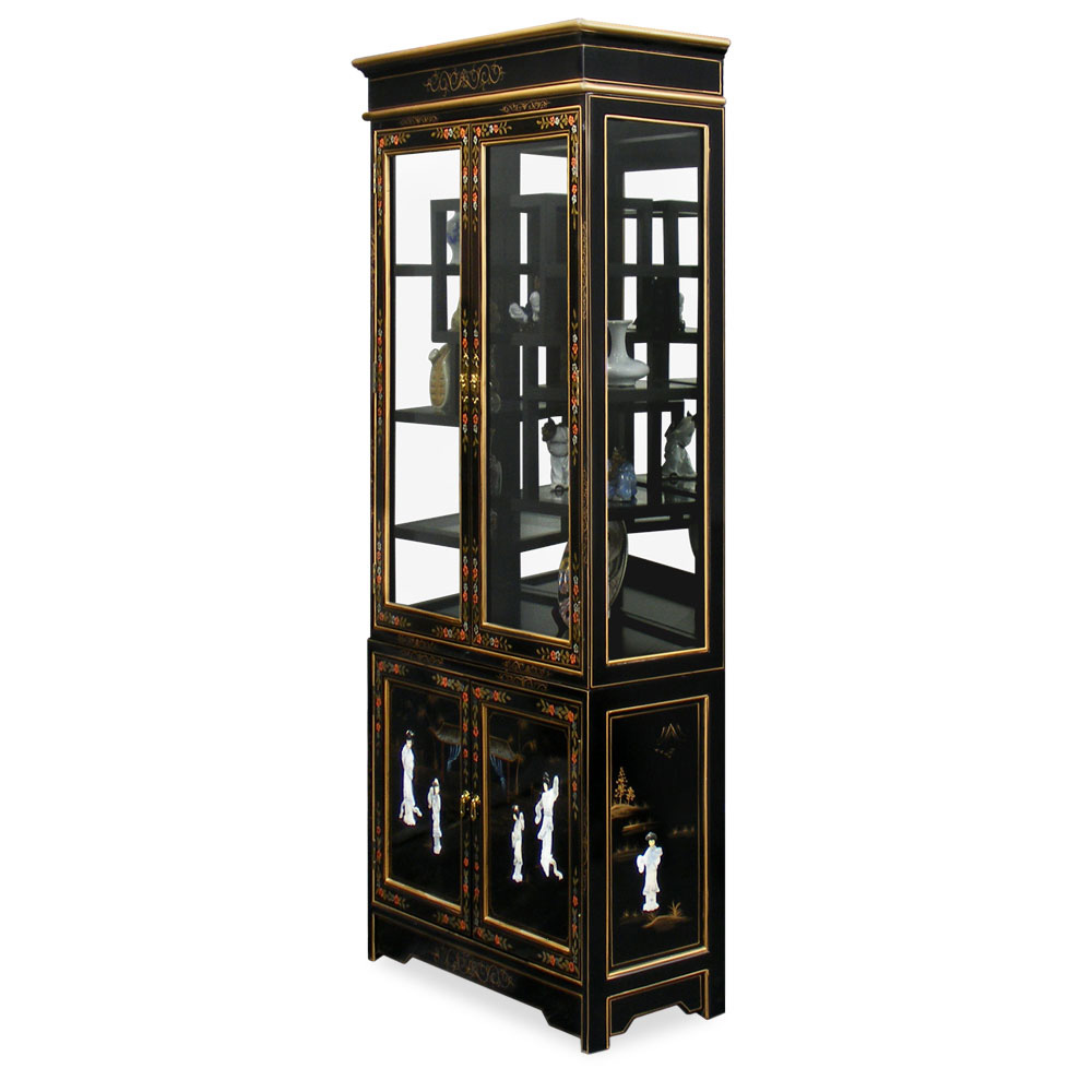 Black Lacquer Mother of Pearl Curio Cabinet